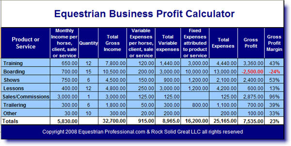 Equestrian Business Profit Calculator & Auto Calculating Budget Sheets