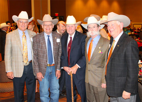 (left to right) Johnny Trotter, AQHA; Dr. Glenn Blodgett, 6666 Ranch; Buster Welch; Tio Kleberg, King Ranch; Don Treadway, AQHA Executive Vice President